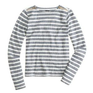 J. Crew striped Painter Tee w/ gold shoulder zips
